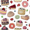 Seamless pattern with different cakes and pastry on white background
