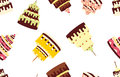 Seamless pattern with different cakes on a white background.