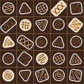 Seamless pattern with different chocolate candies in a box Royalty Free Stock Photo