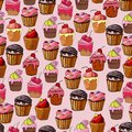 Seamless pattern with different pasteries
