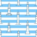 Seamless pattern with different lighthouses drawn with contour lines on striped background. Backdrop with towers for