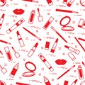 Seamless pattern of different lip make-up tools. Vector illustration of lipsticks, mirror, lip liner, lip gloss and other.