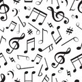 Seamless pattern with different music notes
