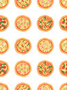 Seamless pattern with different pizza including margherita, pepperoni, shrimp, onion, chili pepper, bacon, tomatoes. Vector backgr Royalty Free Stock Photo
