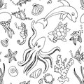 Seamless pattern with different sea creatures hand drawn Royalty Free Stock Image