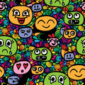 Seamless pattern with different smiles head on abstract frame