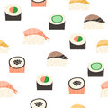 Seamless pattern with different types of sushi. Royalty Free Stock Photo