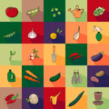 Seamless pattern with different vegetables and garden tools.