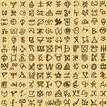 Seamless Pattern digital art ritual symbols and screen printing background