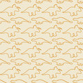 Seamless pattern, dinosaurs, line art