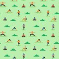 Seamless pattern of diverse people doing yoga