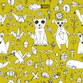 Seamless pattern with Dog cat fox fish birds sea animals and plants, Black outline on Mustard yellow background, doodle decorative