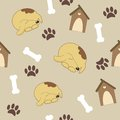Seamless pattern with dog, dog house, bone Stock Photo