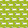 Seamless pattern - dog profile, paw trace isolated on green background