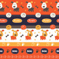 Seamless pattern with dogs, paws, bones and lettering