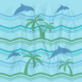 Seamless pattern with dolphins retro and sea Stock Photos