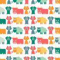 Seamless pattern with domestic animals cute Stock Images