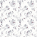 Seamless pattern with doodle cats drinking wine Royalty Free Stock Photo
