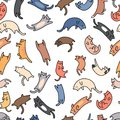 Seamless pattern doodle cats on white background