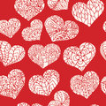 Seamless pattern from doodle hearts in silhouette white style