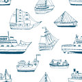 Seamless pattern with doodle ships, yachts, boats, sailing craft, sailboat, nautical vessel. Background with sea