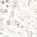 Seamless pattern with doodle sketch Natural disasters