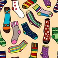 Seamless pattern of doodle socks for web design prints etc repeating background can be copied without any seams vector invitation Stock Images