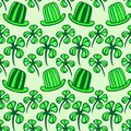 Seamless pattern. Doodle style four leaf clover, luck, or St. Patricks Day vector illustration Royalty Free Stock Photo