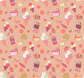 Seamless pattern with doodle vector kawaii illustration.
