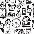 Seamless pattern with doodle watches and clocks. Royalty Free Stock Photo