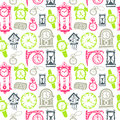 Seamless pattern with doodle watches and clocks Royalty Free Stock Photo