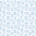 Seamless pattern with doodle watches and clocks are drawn on a notebook in a ruler. Royalty Free Stock Photo