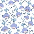 Seamless pattern with doodle whales Stock Photography