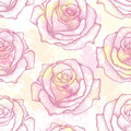 Seamless pattern with dotted rose flower in pink on the background with blots in pastel colors. Floral background in dotwork style Royalty Free Stock Photo