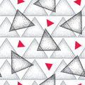 Seamless pattern with dotted triangle in black, gray and red on the white background. Vector abstract triangle background. Royalty Free Stock Photo