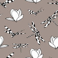 Seamless pattern with dragonflies and magnolias Royalty Free Stock Photo