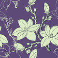 Seamless pattern with drawing magnolia flowers Royalty Free Stock Photo