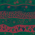 Seamless pattern with drawing original green waves Royalty Free Stock Images