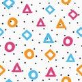 Seamless pattern drawn by hand. Irregular polka dot and repetitive geometric shapes. Sketch, watercolour, grunge, graffiti.