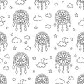 Seamless pattern with dream catchers. Elements - dreamcatcher, star, moon. Vector illustration. Cute repeated texture