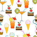 Seamless pattern with drinks and dessert for textiles interior design for book design website background Royalty Free Stock Image