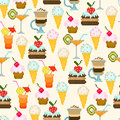 Seamless pattern with drinks and sweets for textiles interior design for book design website background Stock Photos
