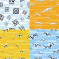 Seamless Pattern Drone Icon Flying in Sky. Vector