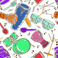 Seamless pattern of drum set hand drawn musical colorful Royalty Free Stock Photo
