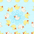 Seamless pattern with ducks cartoon background multicolored Stock Images