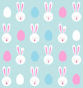 Seamless pattern of Easter bunnies and colored eggs