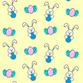 Seamless pattern of an Easter Bunny with egg and Easter eggs on a light yellow background