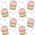 Seamless pattern. Easter cake or sweet bread or Paska. Soft colorful Spring festive background and texture with traditional food