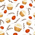 Seamless pattern with Easter cakes, red colored eggs and pussy-willow twigs