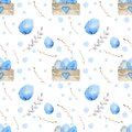 Seamless pattern. Easter eggs, blue watercolor eggs, background white speckled